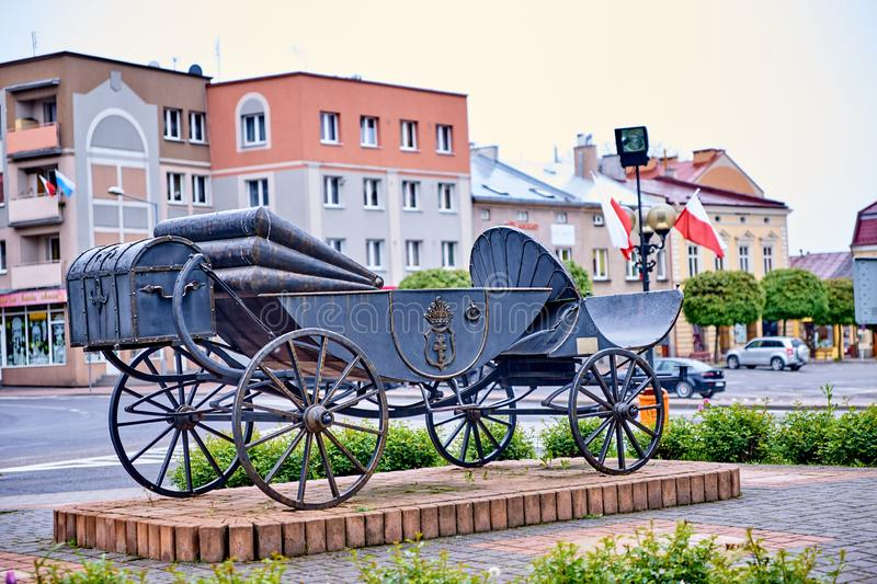 LANCUT, POLAND - MAY 4, 2019: A carriage monument in the city ce stock photos
