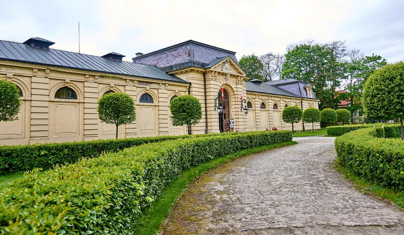 LANCUT, POLAND - MAY 4, 2019: Historic stables near the castle o royalty free stock photography