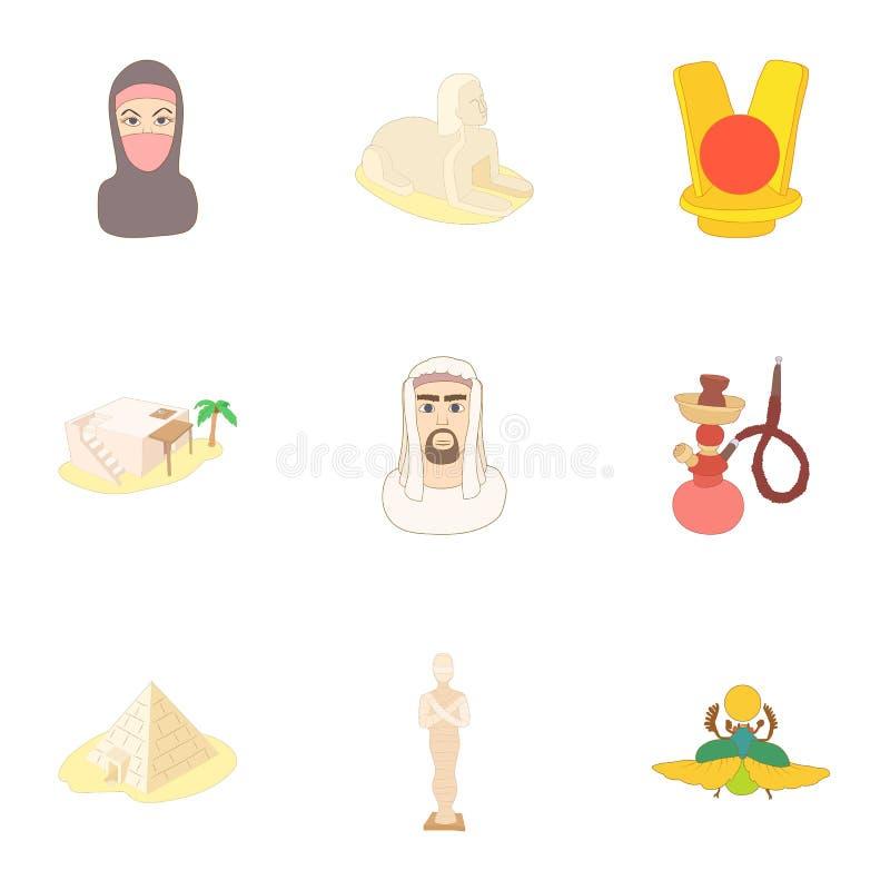 Land-Ägypten-Ikonen eingestellt, Karikaturart lizenzfreie abbildung