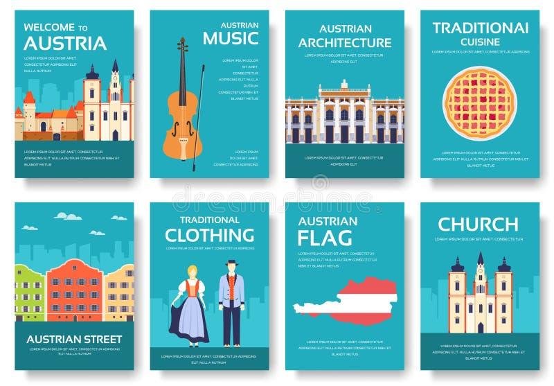 Land-Österreich-Reiseferienführer von Waren, von Plätzen und von Funktionen Satz Architektur, Mode, Leute, Einzelteile, Natur lizenzfreie abbildung