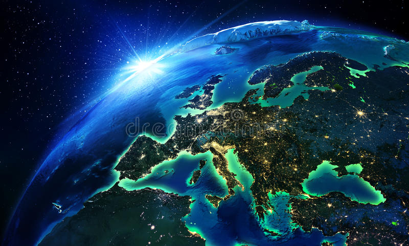 Land area in Europe the night. Sunshine stock images