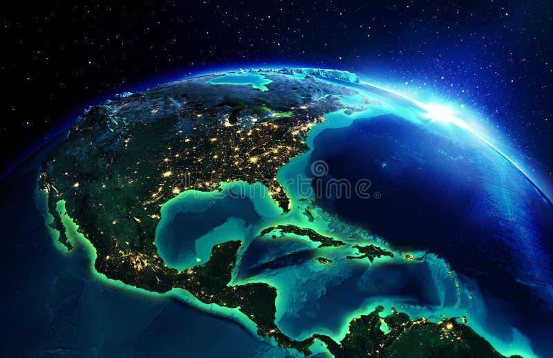 Land area in North America the night. Dawn stock image