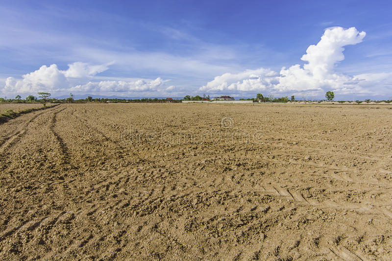 Land area soil adjustment and reclamation project. New soil area for building stock image