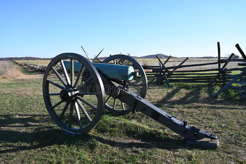 Pickett`s Charge. The land crossed by Confederate soldiers during the action called Pickett`s Charge into artillery and musket fire uphill against the Union Army royalty free stock photography