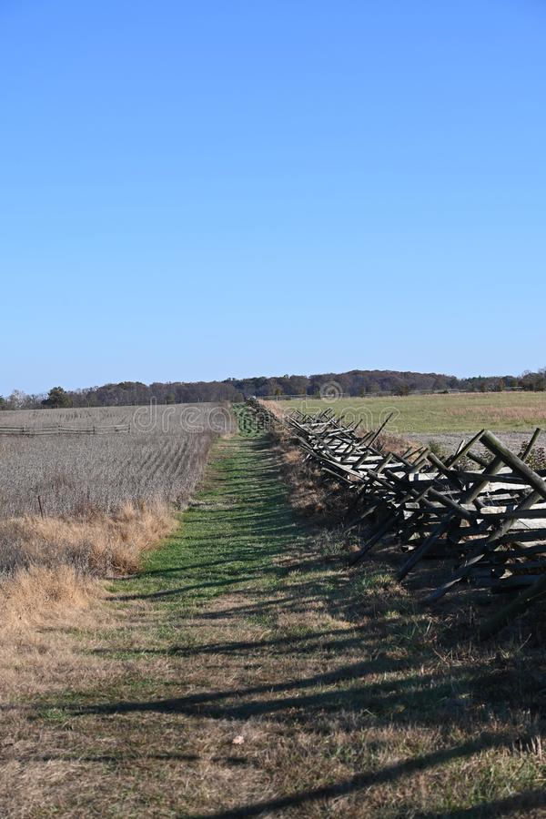 Pickett`s Charge. The land crossed by Confederate soldiers during the action called Pickett`s Charge into artillery and musket fire uphill against the Union Army stock images