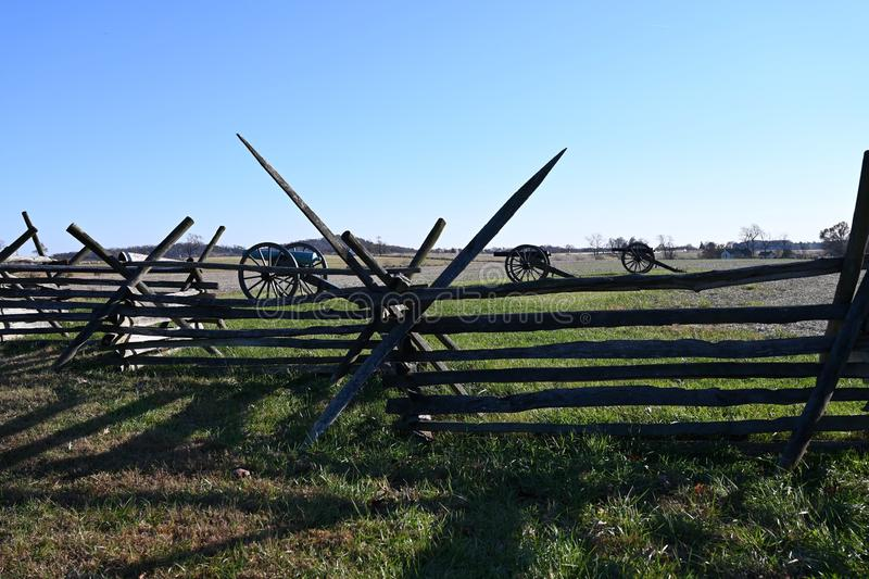 Pickett`s Charge. The land crossed by Confederate soldiers during the action called Pickett`s Charge into artillery and musket fire uphill against the Union Army stock photos