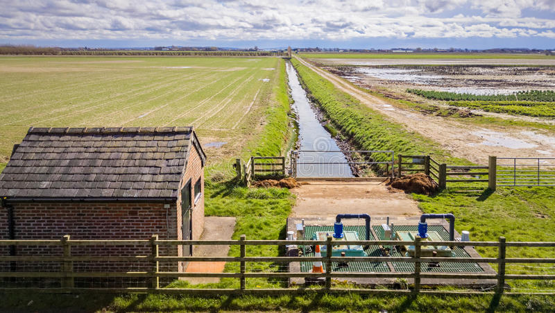 Land Drainage Pumping Station. On wetland marshes. Hesketh Bank, Lancashire, England, UK stock photo
