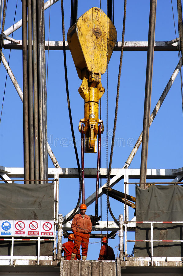 Land drilling rig. Working land drilling rig in Shengli Oil,CHN royalty free stock image