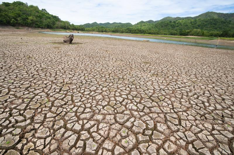 Land with dry and cracked ground because dryness global warming. Global warming background stock image