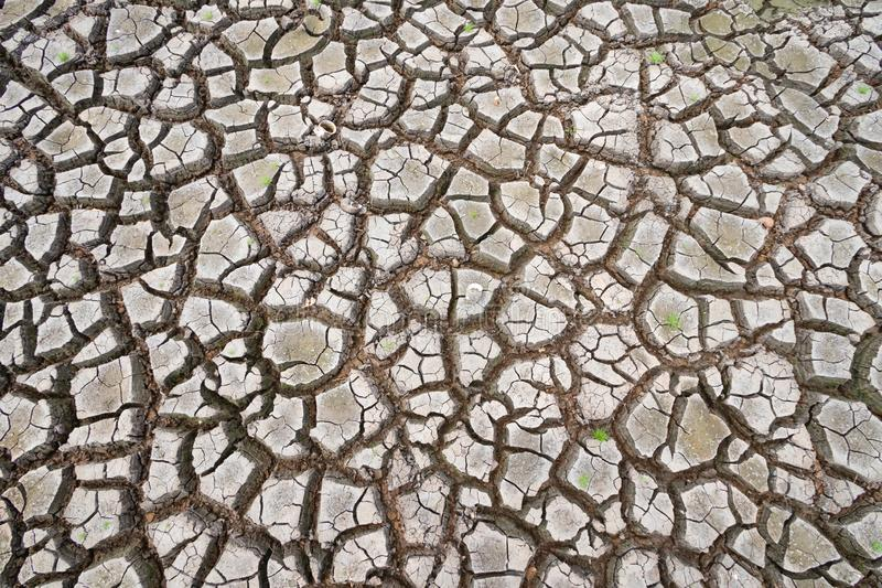 Land with dry and cracked ground because dryness global warming. Global warming background stock photography