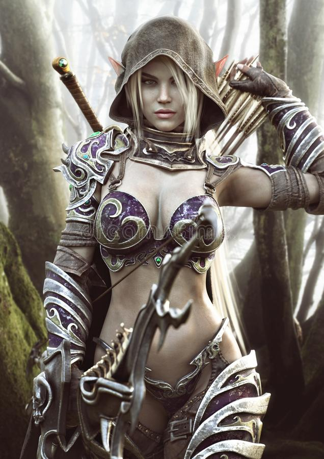The land of the elves . Portrait of a fantasy heavily armored hooded dark elf female archer warrior vector illustration