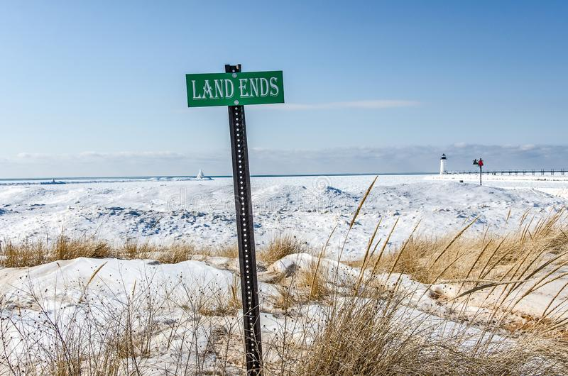 Land Ends Lake Begins stock photos