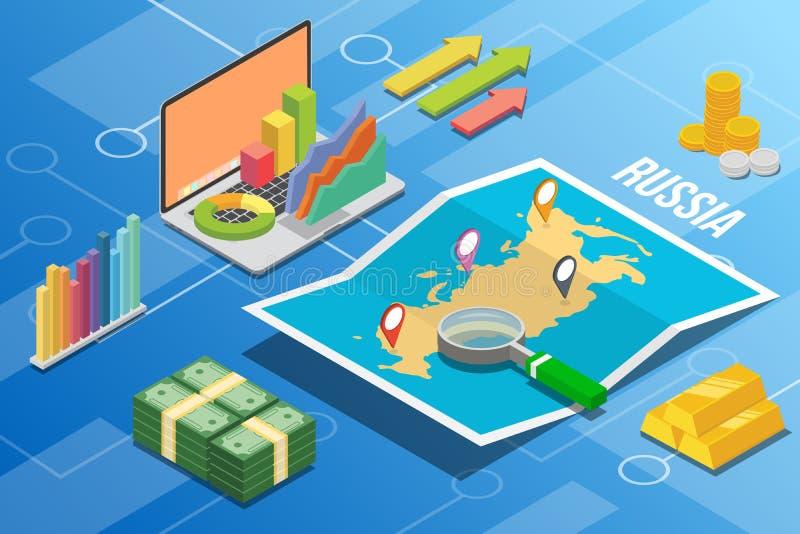 Land för tillväxt för ekonomi för affär för Ryssland federation isometriskt med översikten och finansvillkoret - vektorillustrati stock illustrationer