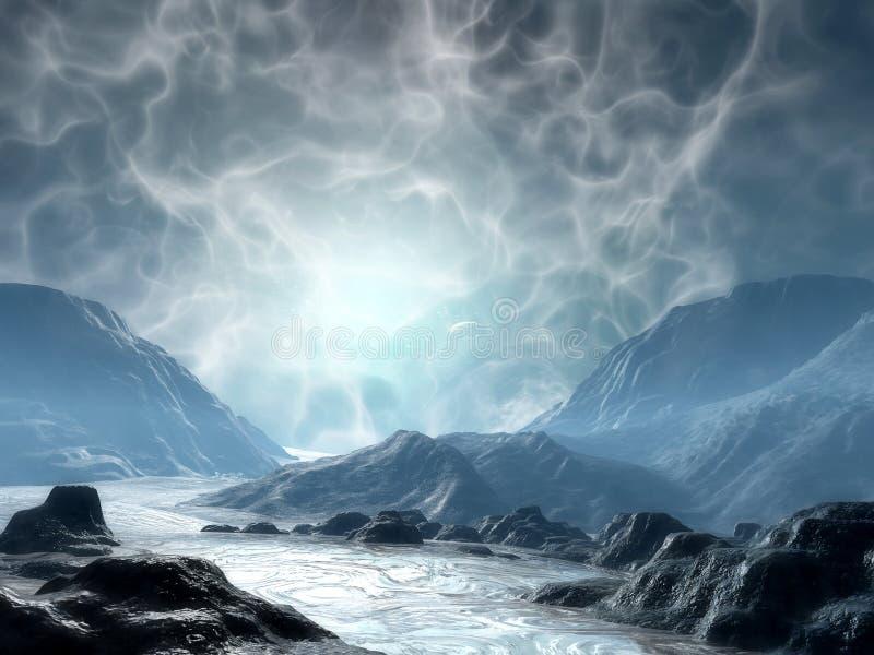 Land of fantasy. A 3d render of fantasy landscape stock illustration