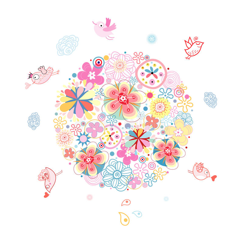 Land in the flowers. Bright summer flowers in the ground with birdies on a white background