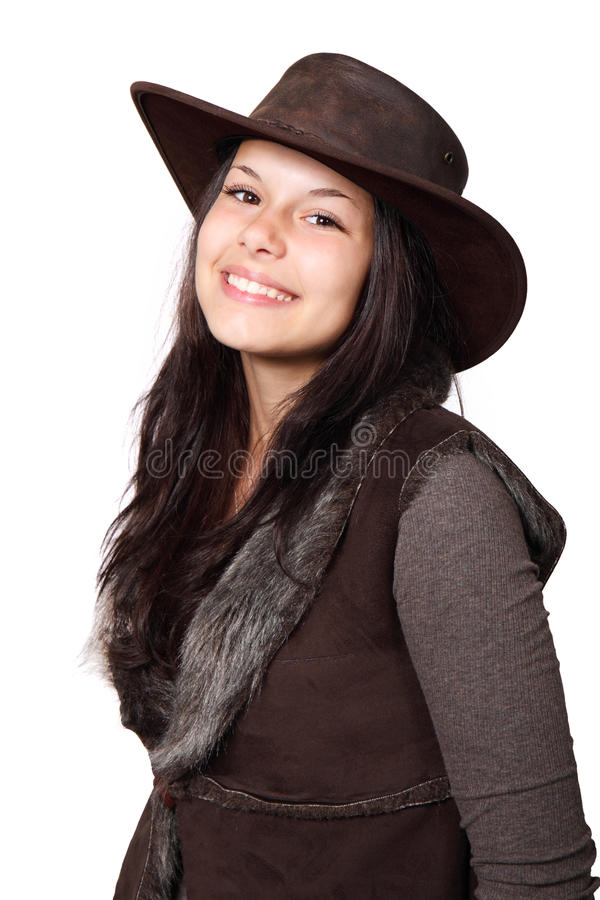 Land-Frau mit Hut lizenzfreie stockfotografie