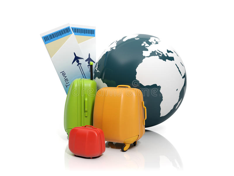Download Land And A Group Of Suitcases Stock Illustration - Image: 25945424