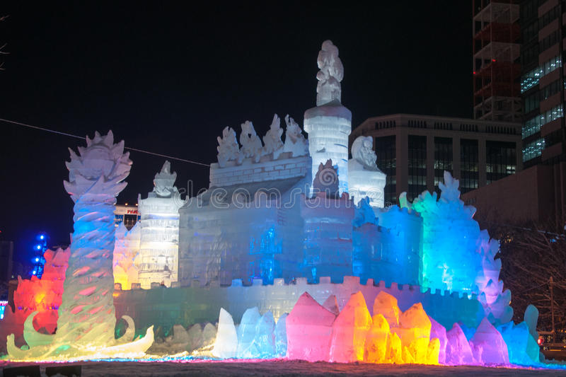 The Land of Ice ~ Princess of White Wings, Sapporo Snow Festival. Sapporo, Japan - Feb. 9 2013 : Illuminated snow sculpture of The Land of Ice ~ Princess of royalty free stock photo