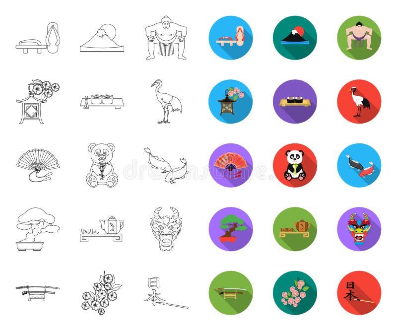 Land-Japan-Entwurf, flache Ikonen in gesetzter Sammlung für Entwurf Japan und Markstein vector Netzillustration des Symbols auf L vektor abbildung