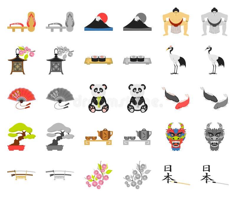 Land-Japan-Karikatur, monochrom Ikonen in gesetzter Sammlung für Entwurf Japan- und Marksteinvektorsymbol-Vorratnetz vektor abbildung