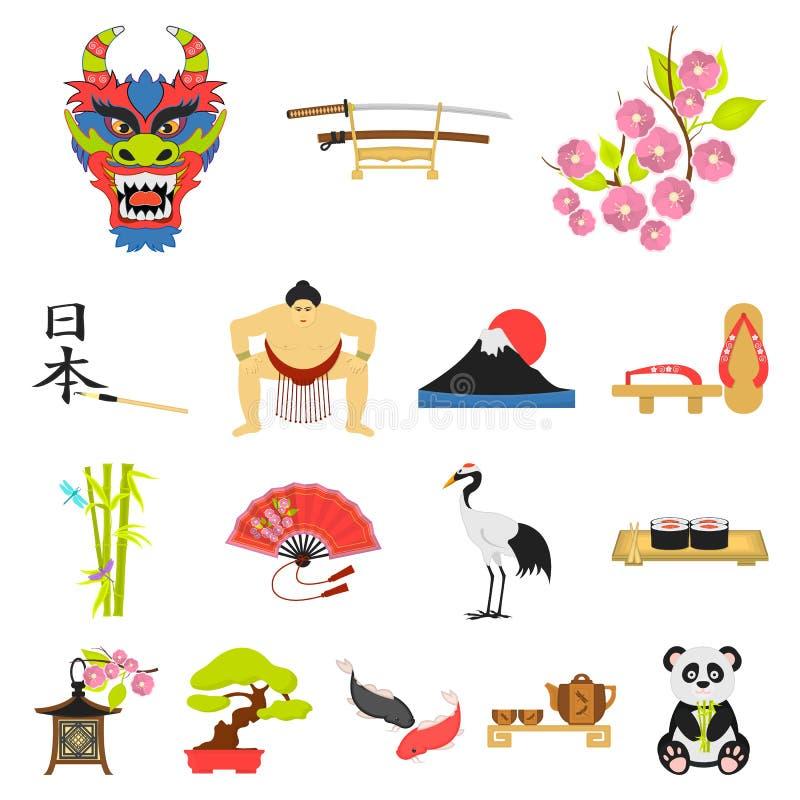 Land-Japan-Karikaturikonen in der Satzsammlung für Design Japan und Markstein vector Netzillustration des Symbols auf Lager lizenzfreie abbildung