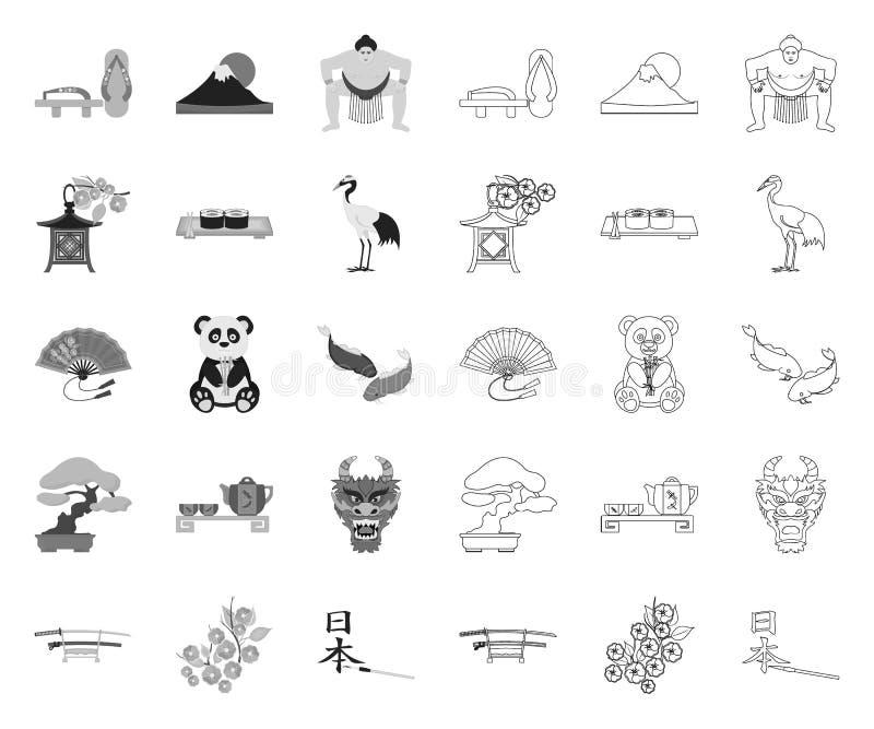 Land Japan mono, Entwurfsikonen in gesetzter Sammlung für Entwurf Japan und Markstein vector Netzillustration des Symbols auf Lag vektor abbildung