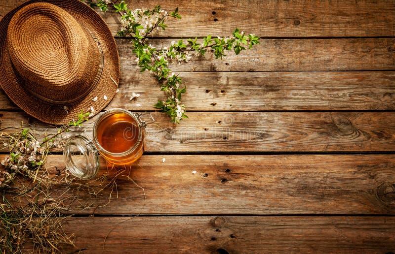 Land - kruik van honing, de hoed van de tuinman en bloeiende boomtak stock fotografie