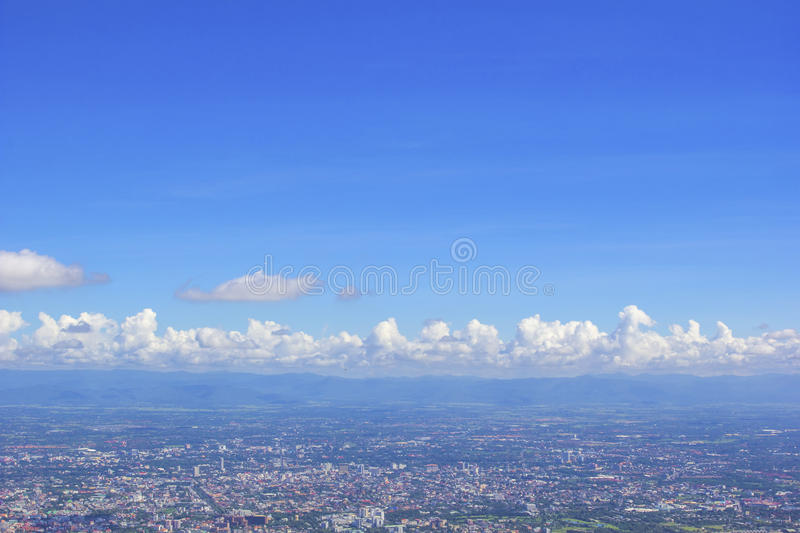 Land mark of chaing mai city from Doi Suthep of Chiang Mai, Thailand with blue sky background royalty free stock photo