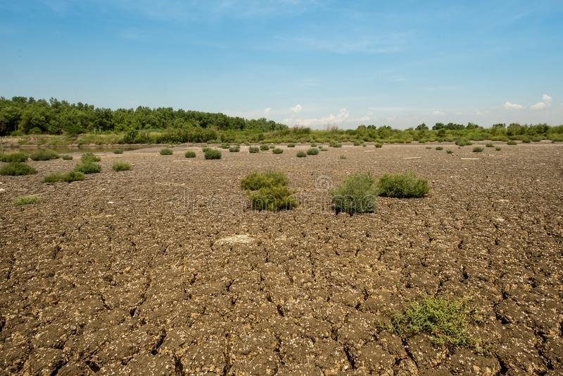 Land med torr och sprucken jordning royaltyfri fotografi
