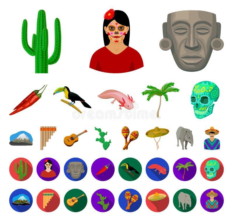 Land-Mexiko-Karikatur, flache Ikonen in gesetzter Sammlung für Entwurf Mexiko und Markstein vector Netzillustration des Symbols a stock abbildung