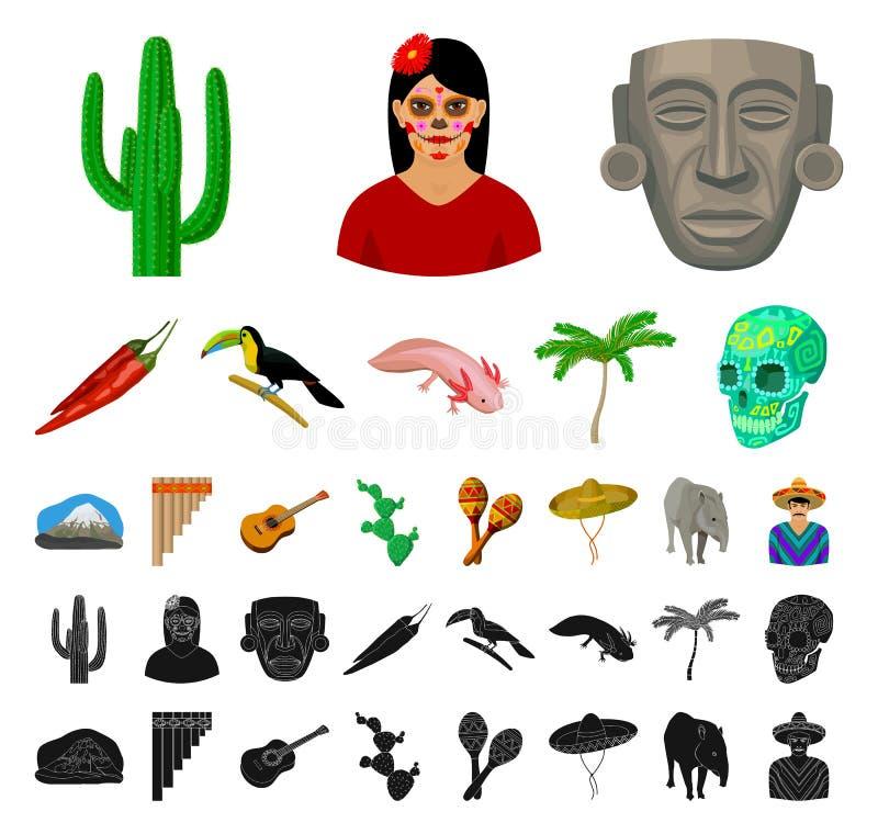 Land-Mexiko-Karikatur, schwarze Ikonen in gesetzter Sammlung für Entwurf Mexiko- und Marksteinvektorsymbol-Vorratnetz stock abbildung