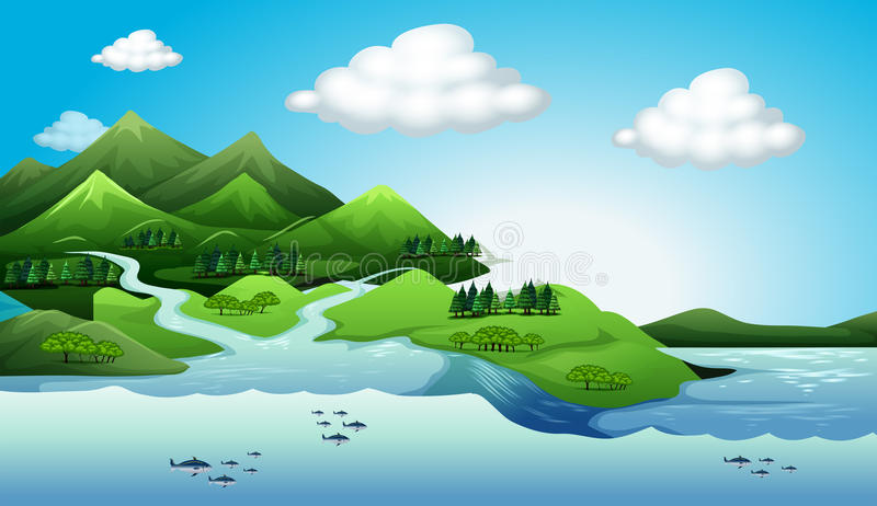 Land- och vattenresurser royaltyfri illustrationer