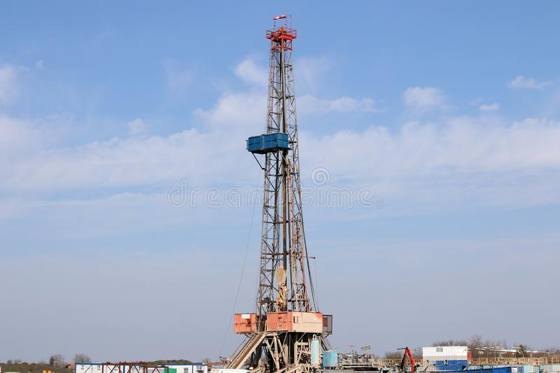 Land oil drilling rig gas extraction stock photography