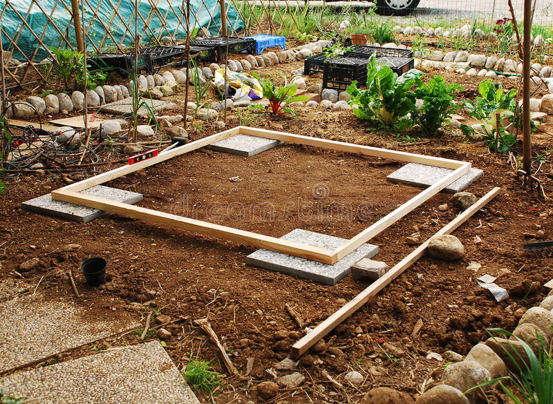 Land Prepared For Garden Shed Stock Photo
