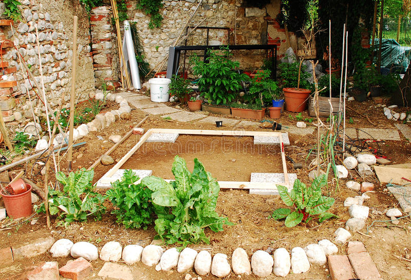 Download Land Prepared For Shed In Garden Stock Photo - Image: 14353338