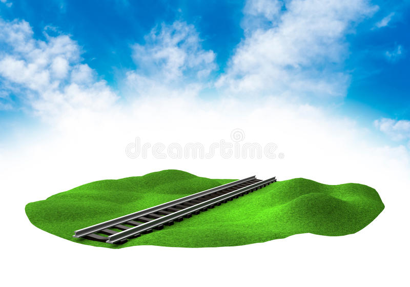 Land with rail in the sky. Piece of land in the sky with rail vector illustration