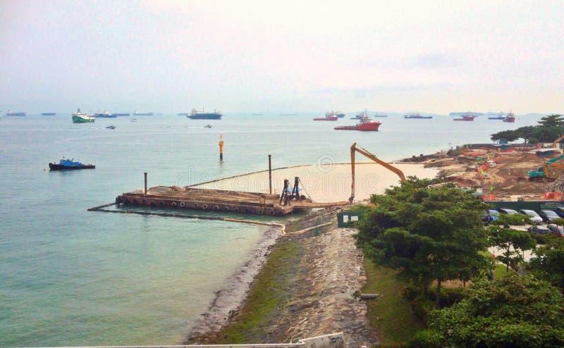 Land reclamation. At Marina coast, Singapore stock photography