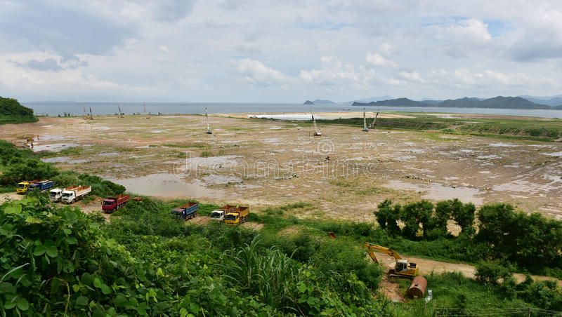 Land reclamation. From the sea royalty free stock photo