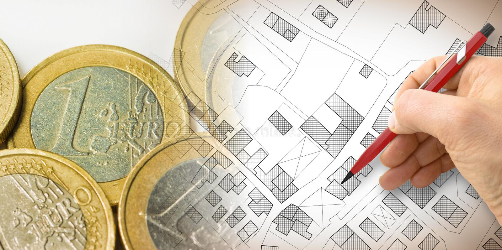 Land registry fees in European Union - concept image with an imaginary cadastral map of territory with buildings and land parcel. Against euro coins vector illustration