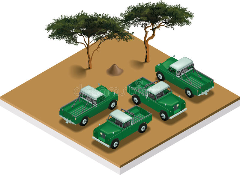 Land Rover 1962. Isometric view of a Land Rover pickup truch serie 109 1962 royalty free illustration