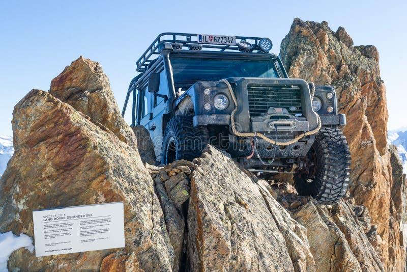 Land Rover Defender. From James Bond movie Spectre near Solden, Austria, November 16, 2018 royalty free stock images
