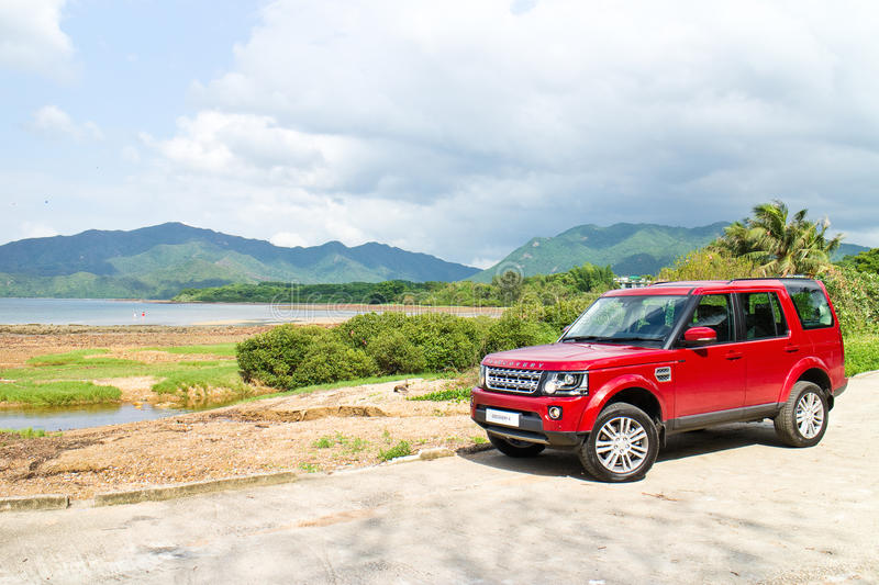 Land Rover Discovery 4 Test Drive on May 13 2014 in Hong Kong. stock images