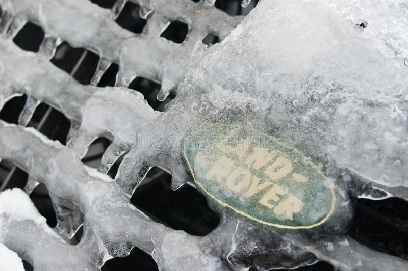 Land rover logo under the ice