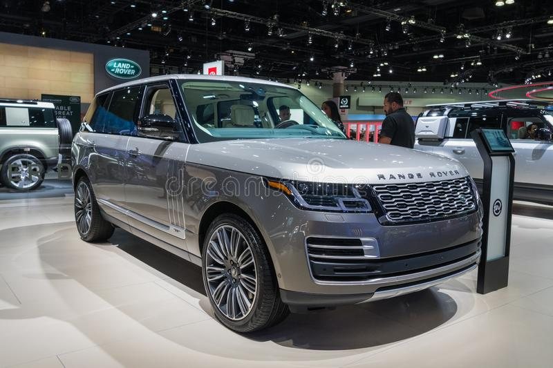 Land Rover Range Rover on display during Los Angeles Auto Show royalty free stock image