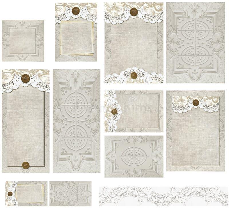 Land rustikales Tin Type Lace Invitation Set stock abbildung