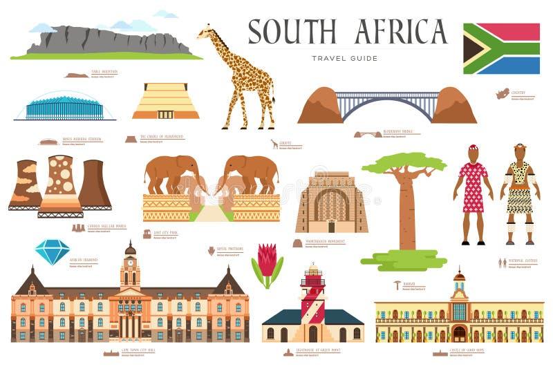 Land-Südafrika-Reiseferienführer von Waren, von Plätzen und von Funktionen Satz Architektur, Mode, Leute, Einzelteile vektor abbildung