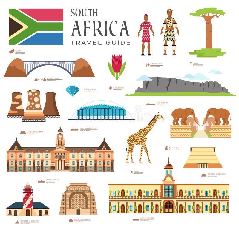 Land-Südafrika-Reiseferienführer von Waren, von Plätzen und von Funktionen Satz Architektur, Mode, Leute, Einzelteile lizenzfreie abbildung