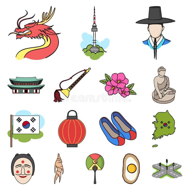 Land-Südkorea-Karikaturikonen in der Satzsammlung stock abbildung
