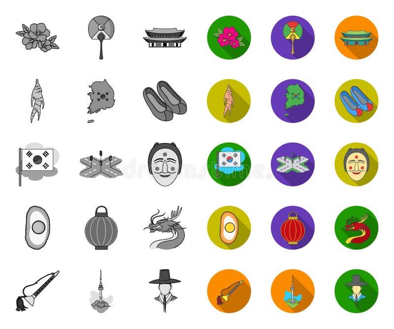 Land Südkorea mono, flache Ikonen in gesetzter Sammlung für Entwurf Reise- und Anziehungskraftvektorsymbol-Vorratnetz lizenzfreie abbildung