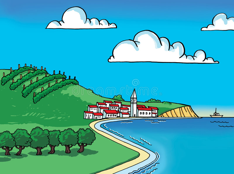 Land by sea. In summer vector illustration